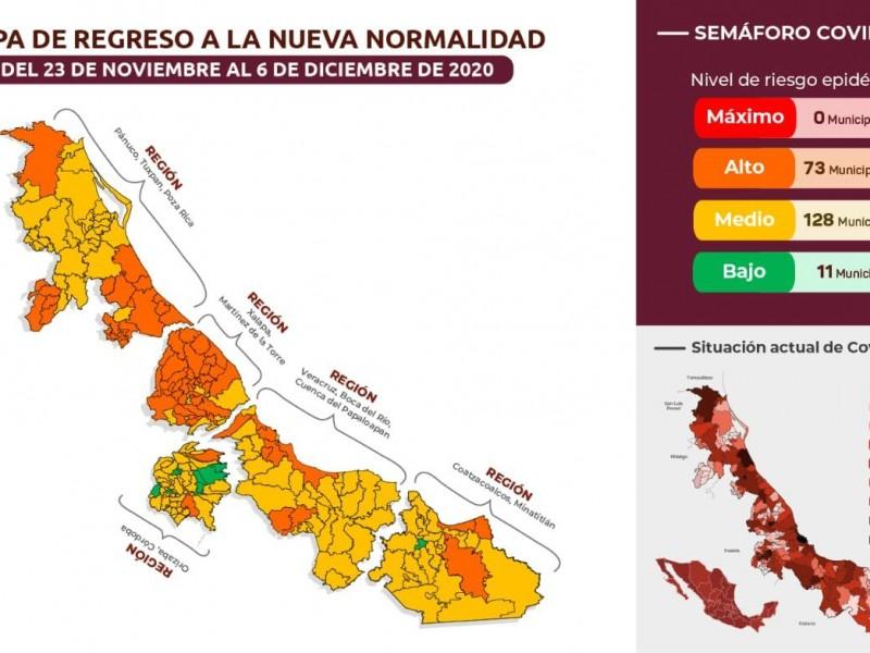 11 municipios de Veracruz pasan al color verde