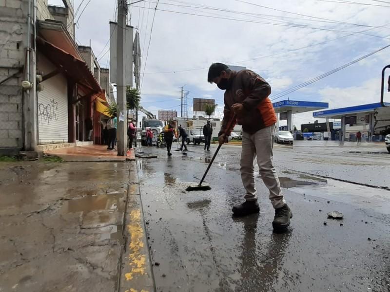 12 locales afectados por lluvia en San Mateo Atenco