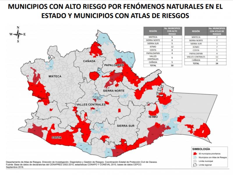 20% de municipios istmeños cuenta con Atlas de Riesgo