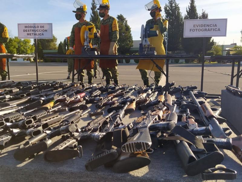 265 armas decomisadas fueron destruidas