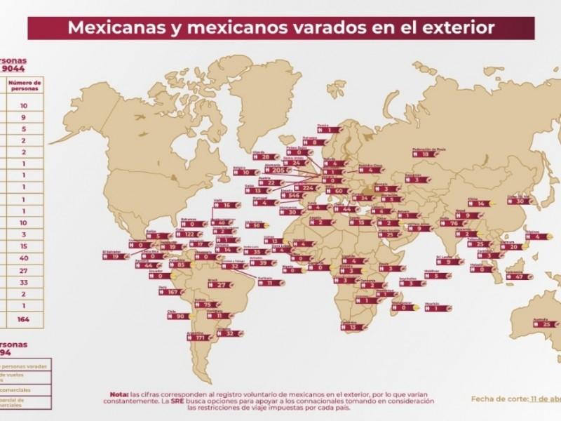 2,794 mexicanos continúan varados en otros países