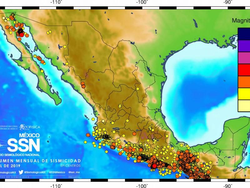 53.8% sismos en abril se registraron en Oaxaca