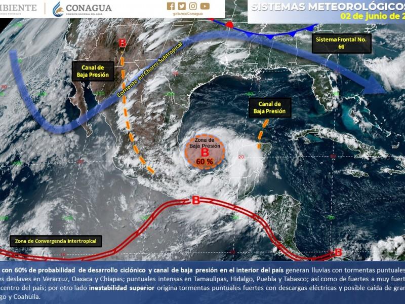 60 por ciento potencial ciclónico para próximas horas