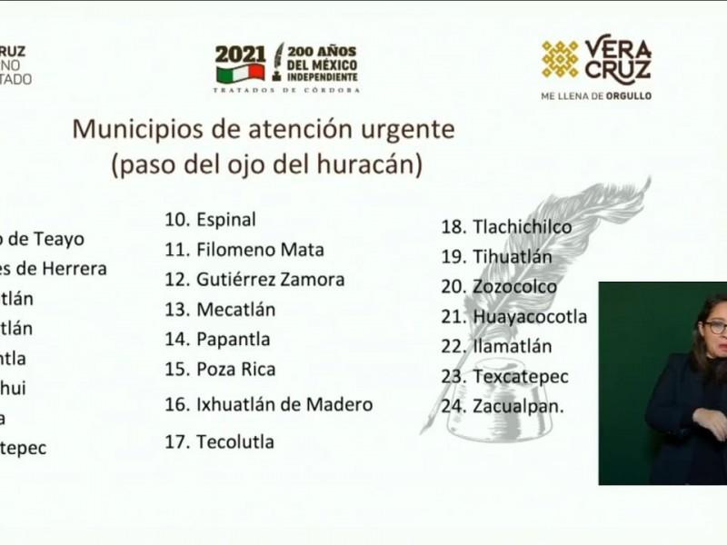 62 municipios veracruzanos afectados; 24 de atención prioritaria