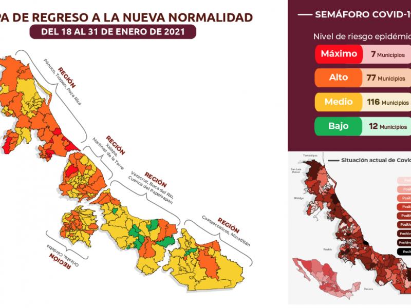 7 municipios de Veracruz con riesgo máximo de contagios
