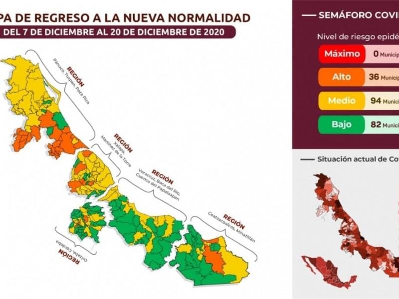 82 municipios de Veracruz en color verde por COVID19