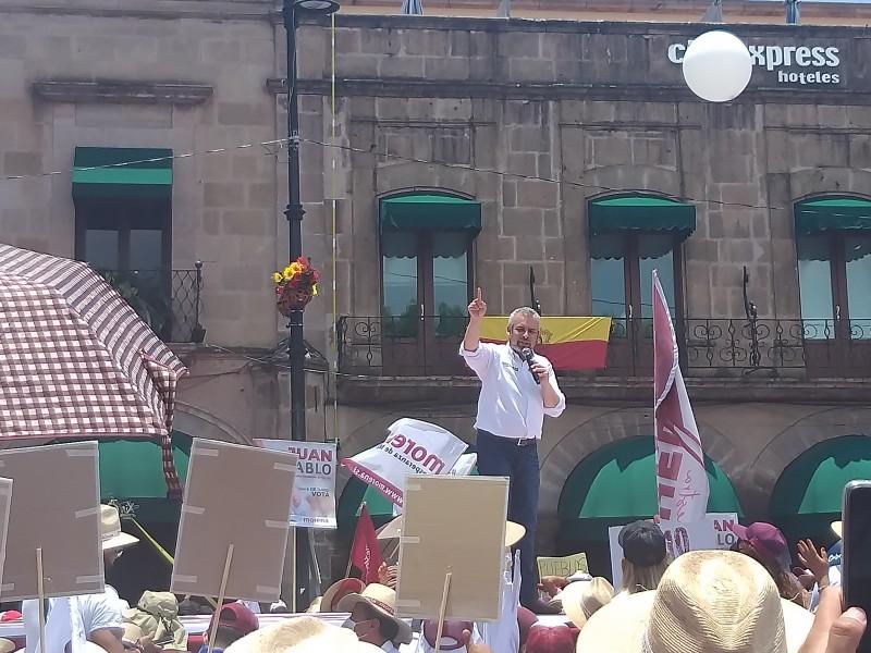 Abarrota Alfredo Ramírez Centro de Morelia por cierre de campaña