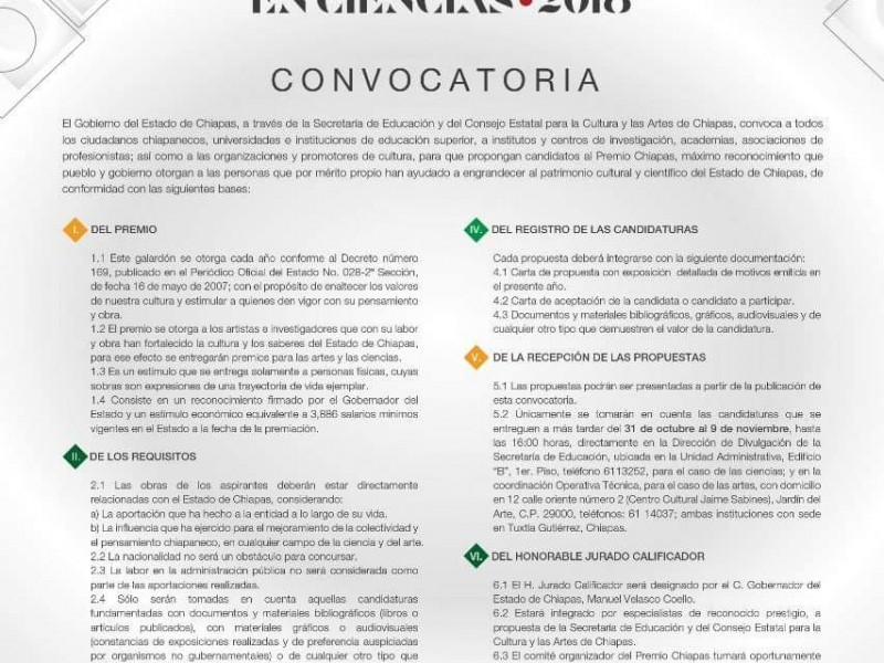 Abren convocatoria para premio Chiapas.