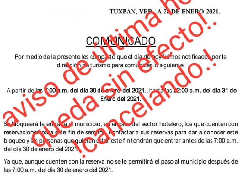 Acceso a Tuxpan no estará restringido