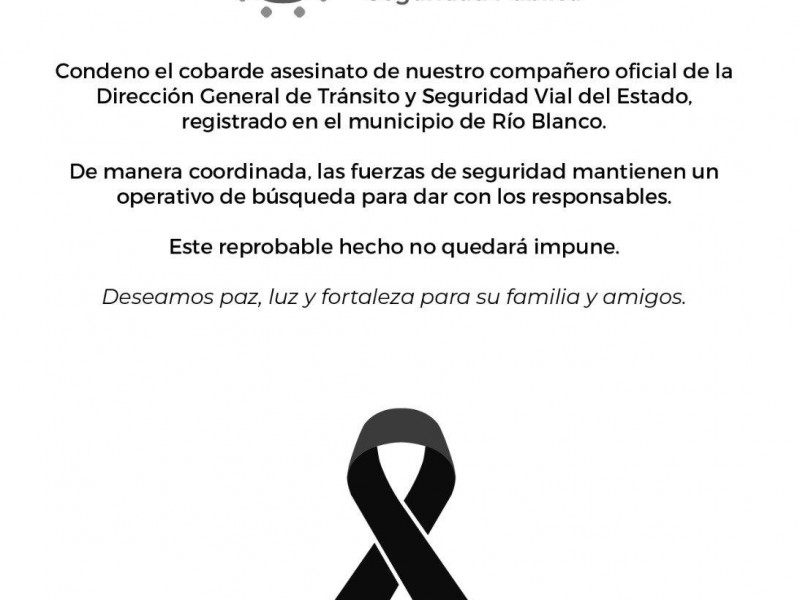 Acribillan a director de tránsito de Río Blanco
