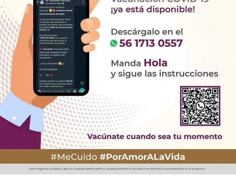 Activan número de WhatsApp para solicitar certificado de vacunación
