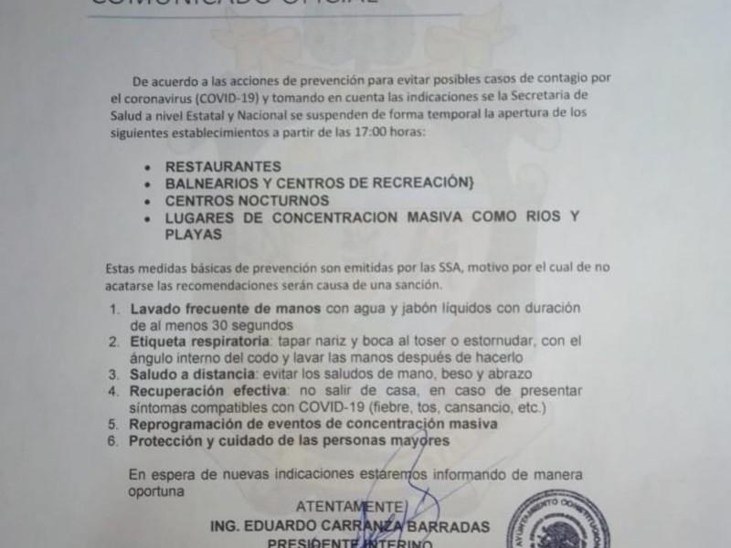 Actopan ordena cierre de espacios para evitar contagios por coronavirus