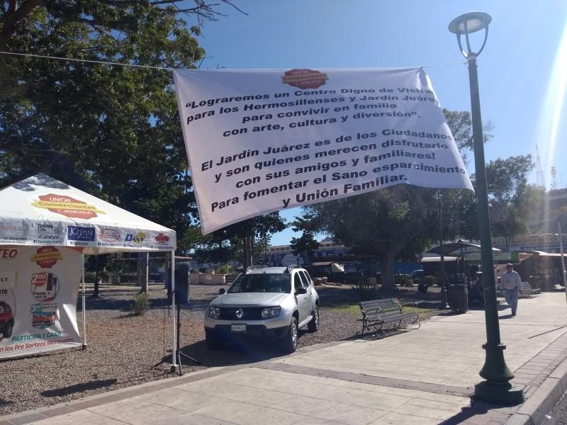 Acuerdan comerciantes con Ayuntamiento uso de Jardín Juárez
