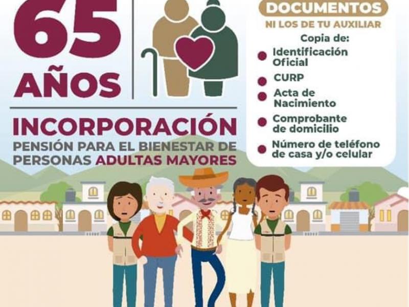 Adultos mayores podrán inscribirse al programa de pensión 65+