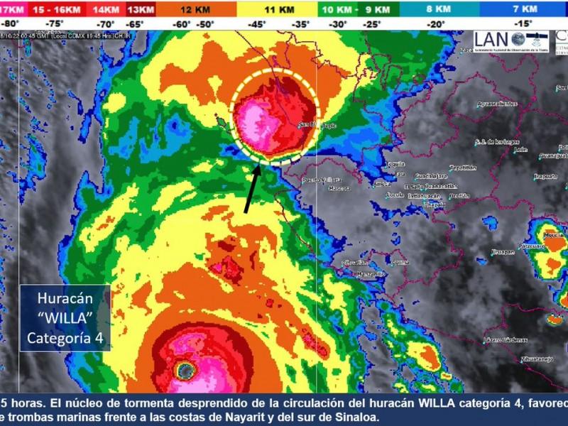 Advierten desprendimiento del núcleo de huracán Willa