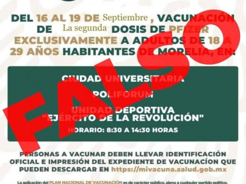 Advierten sobre información falsa de vacunación a mayores de 18
