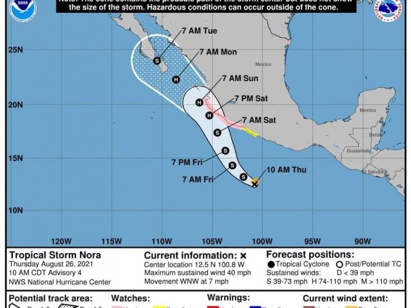 Tormenta tropical Nora podría acercarse a Baja California Sur