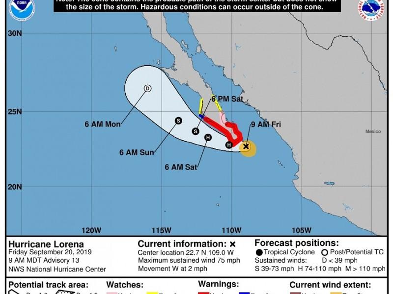 Alerta Azul para Sonora por Lorena