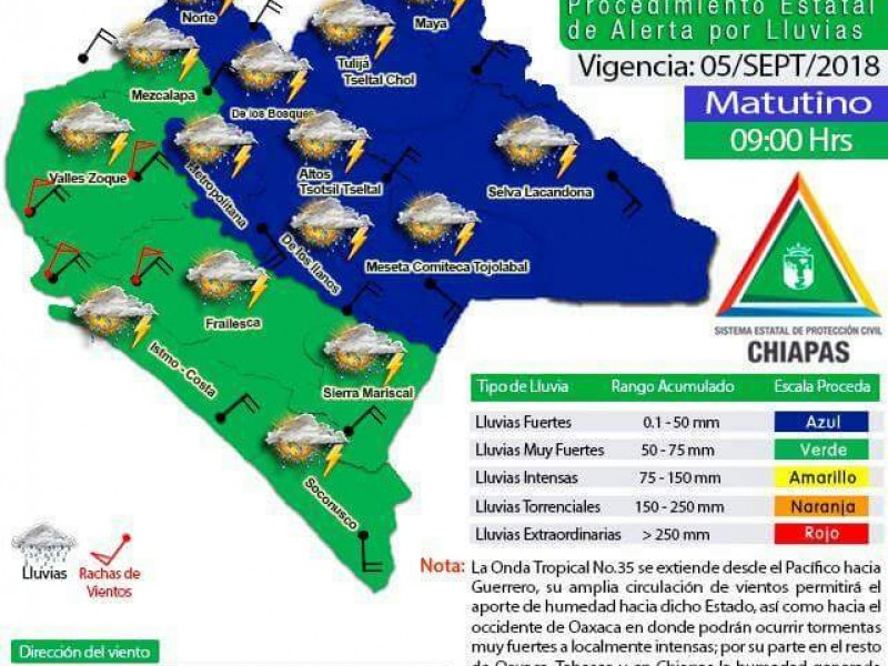 Alerta verde para Chiapas por lluvias