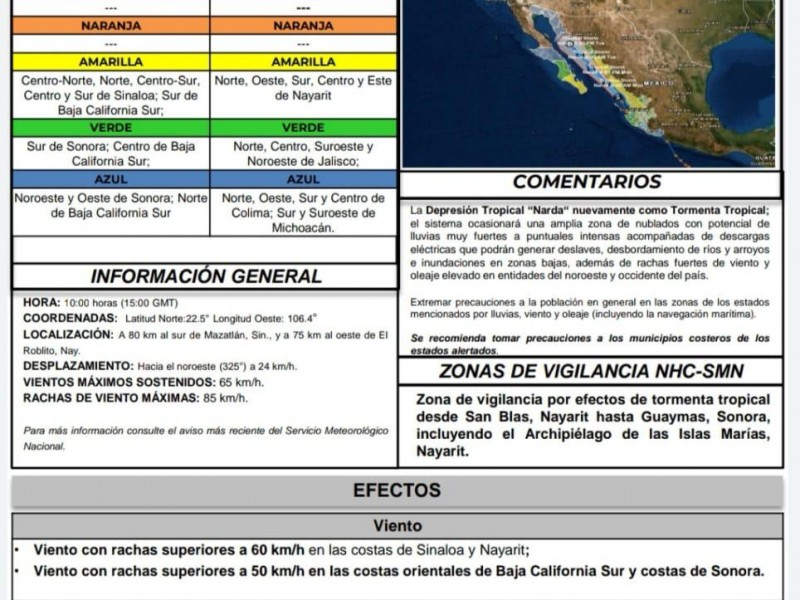 Alerta verde para el Sur de Sonora