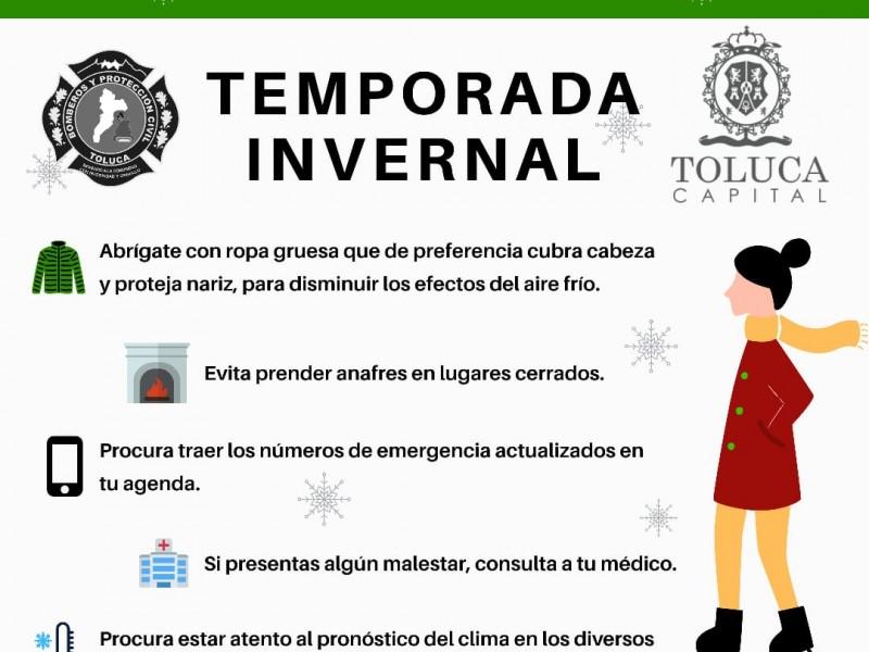 Alertan por bajas temperaturas en Toluca