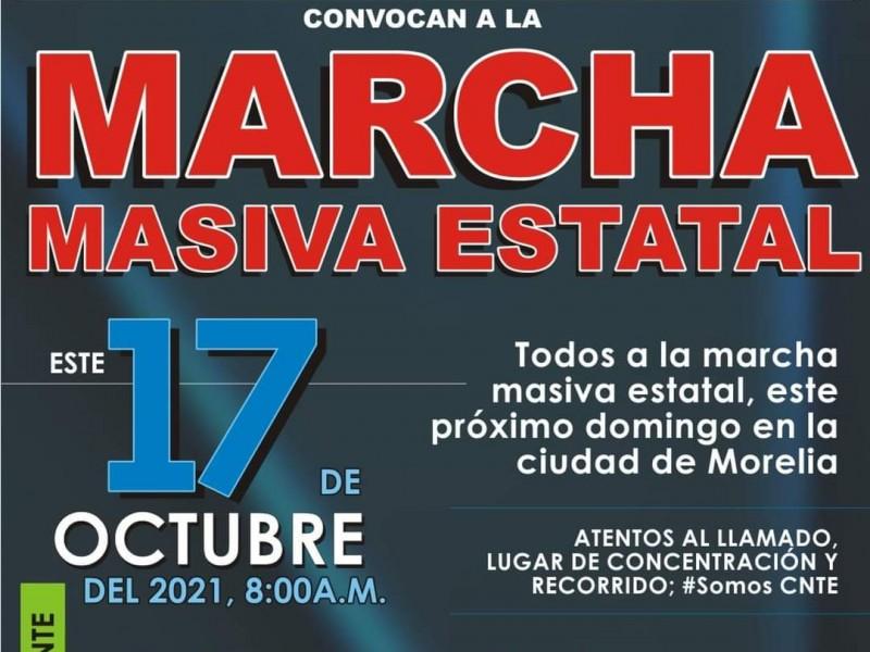 Alista CNTE marcha masiva para este domingo