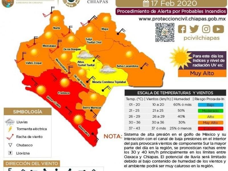 Alto riesgo de incendios en Chiapas