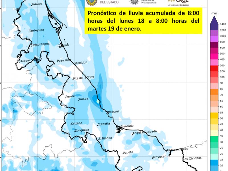 Ambiente fresco y lluvias en las próximas horas en Veracruz