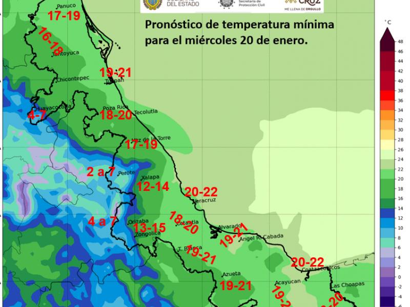 Ambiente fresco y probabilidad de lluvias en Veracruz