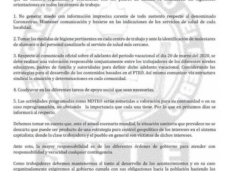 Analizará Sección 22 la suspensión de labores por coronavirus