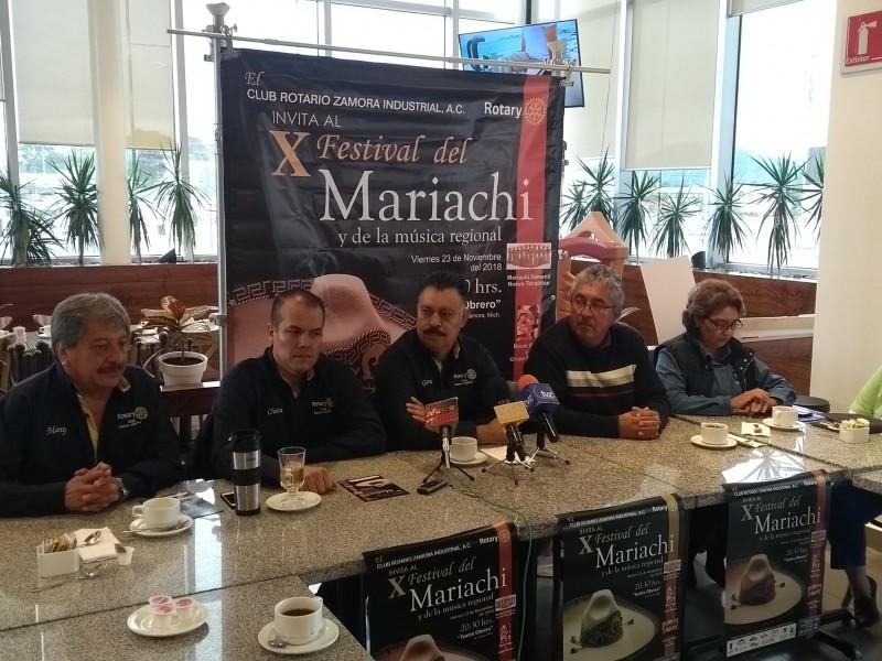 Anuncia Club Rotario Zamora décimo Festival del Mariachi