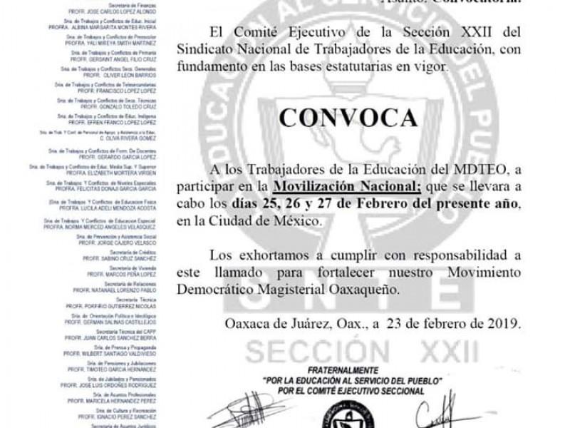 Anuncia Sección 22 Suspención de clases en Oaxaca