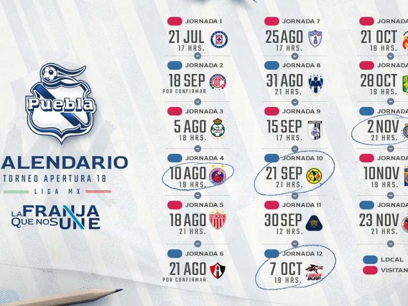 Anuncian Calendario del Club Puebla en el AP18