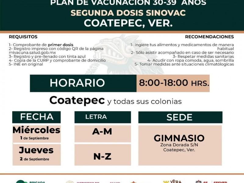 Anuncian fecha para segunda dosis a grupo 30-39 en Coatepec
