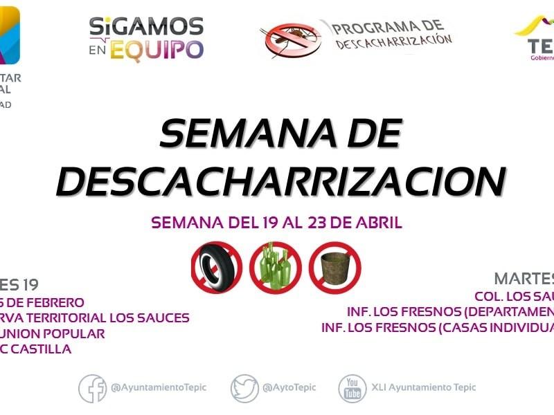 Anuncian jornada de descacharrización para Tepic