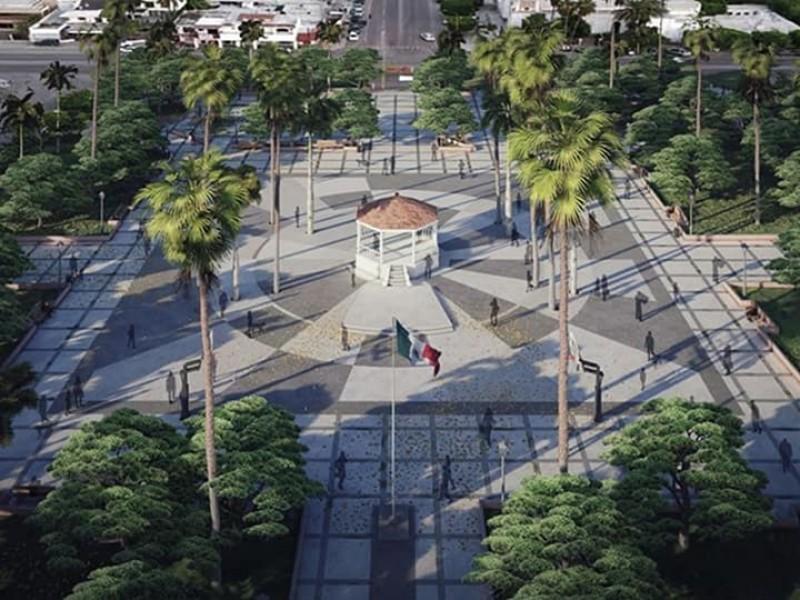 Anuncian remodelación de la Plaza Benito Juárez en Huatabampo