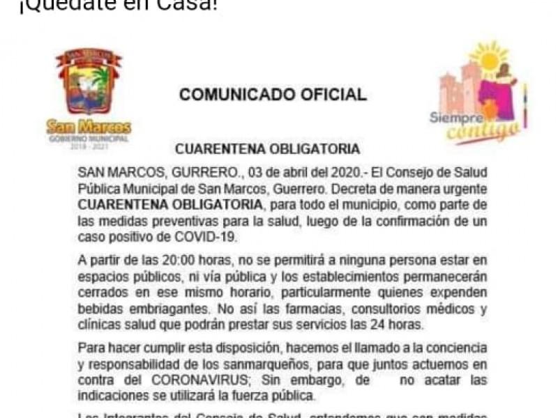 Gobierno de San Marcos aplica cuarentena obligatoria