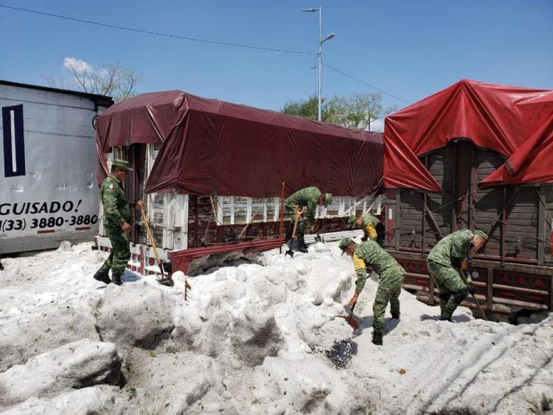 Aplican Plan DN-III en zonas afectadas por granizo
