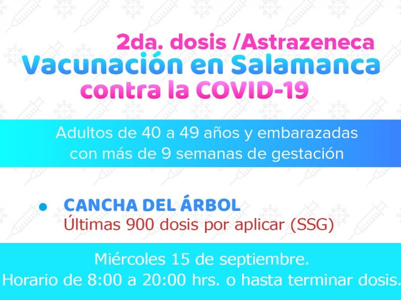 Aplicarán 900 vacunas anticovid este miércoles en Cancha