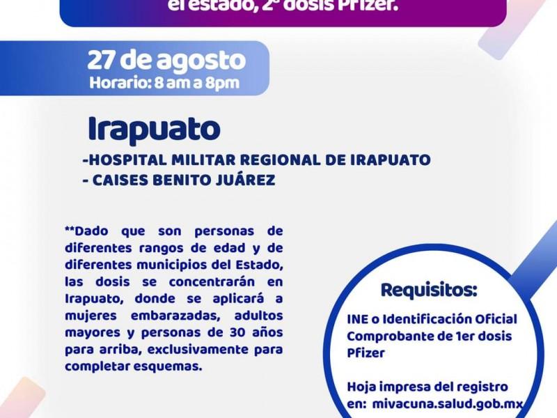 Aplicarán segundas dosis de Pfizer solo en Irapuato