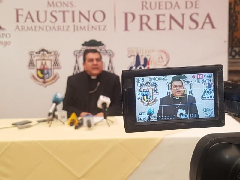 Arquidiócesis de Durango suspenden misas presenciales