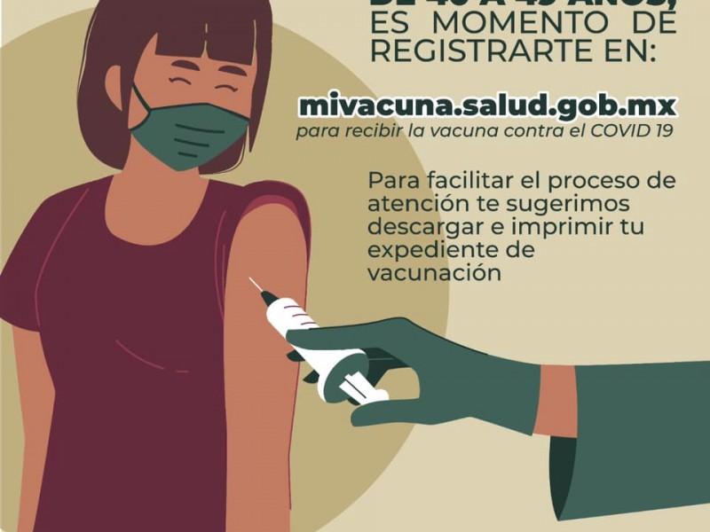 Arranca registro de vacunación para personas de 40+