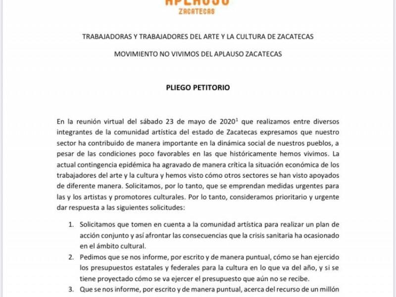 Artistas Zacatecanos exigen apoyo económico ante la contigencia sanitaria