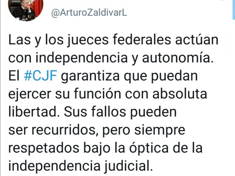 Arturo Zaldívar defiende autonomía e independencia de jueces