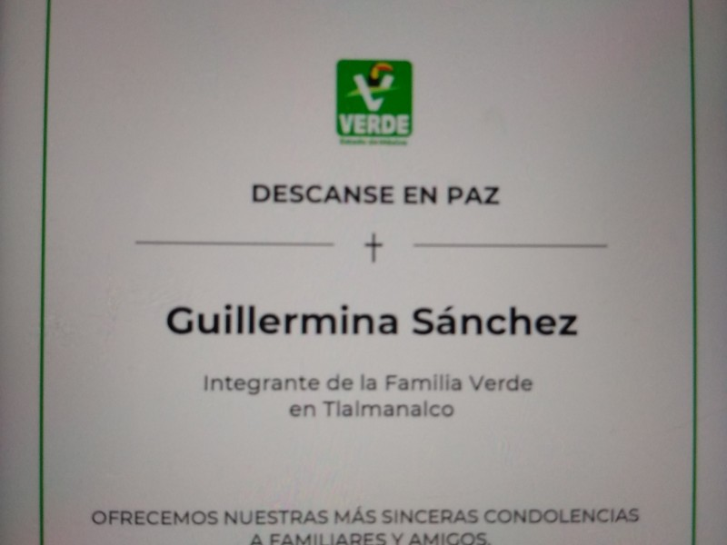 Asesinan a militante del Partido Verde en Tlalmanalco