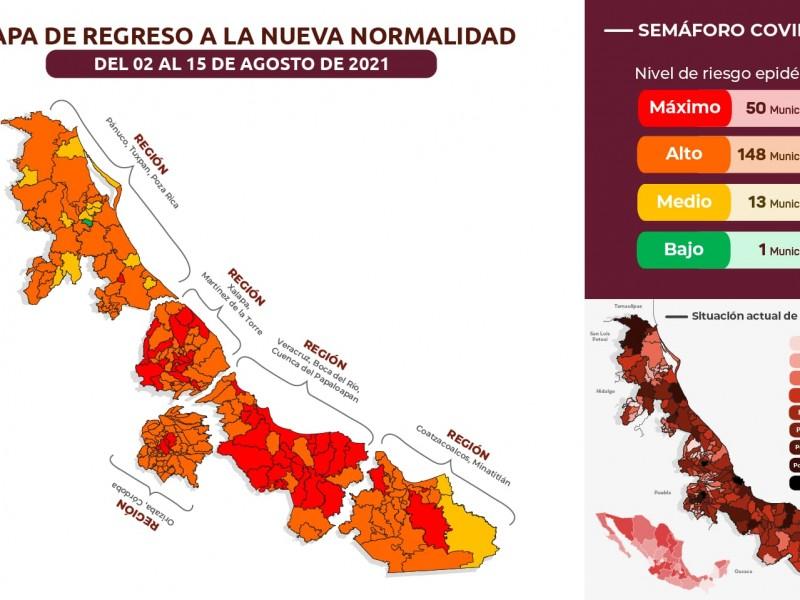 Aumentan a 50 los municipios veracruzanos en Rojo