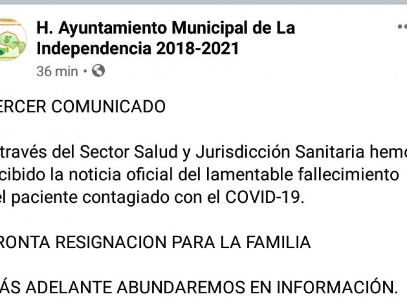 Autoridades municipales informan primer deceso de paciente por Covid-19