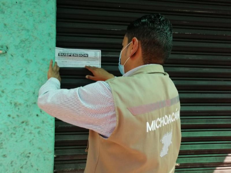 Avanza supervisión de protocolos sanitarios en negocios en Michoacán