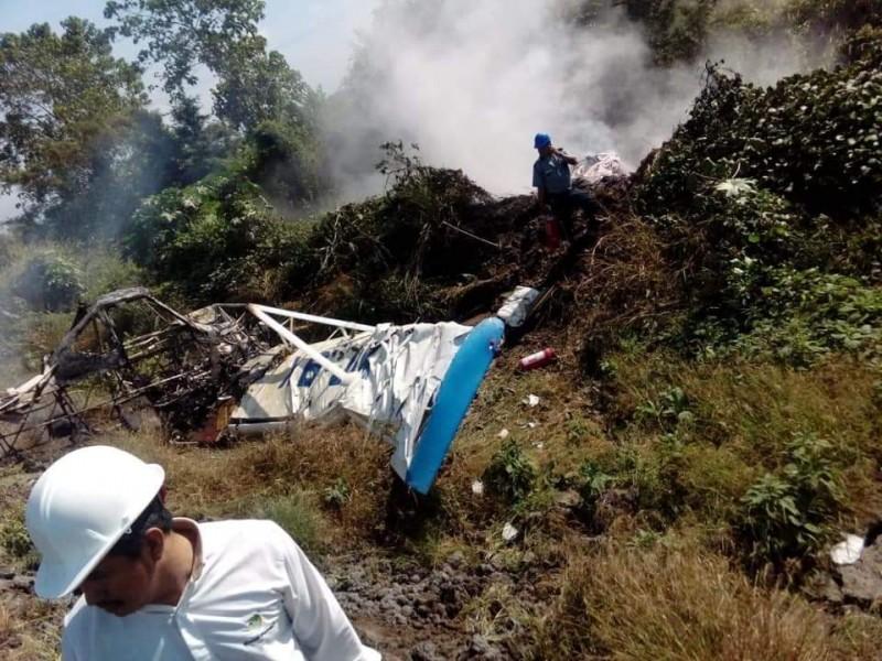 Avioneta se desplomó en Huixtla