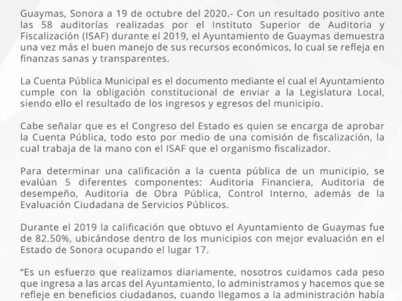Ayuntamiento de Guaymas, de los mejores evaluados en Sonora